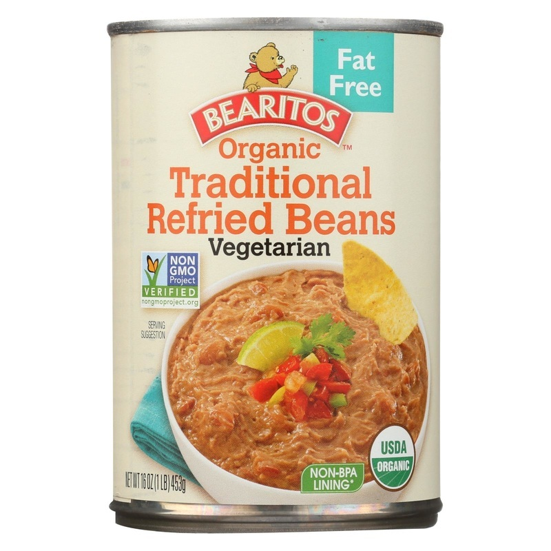 Bearitos Organic Refried Beans - Traditional - Case Of 12 - 16 Oz.