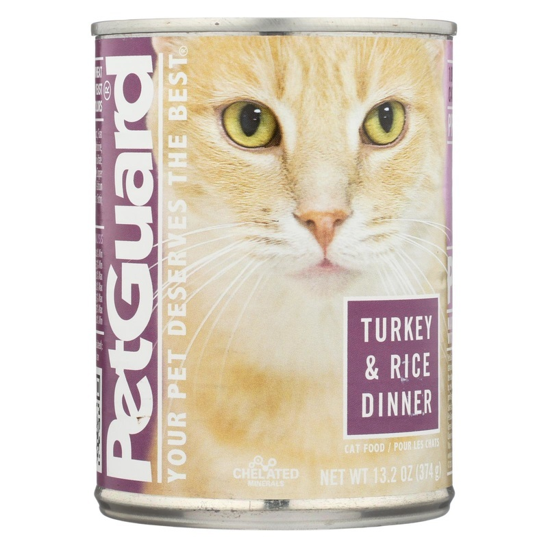 Petguard Cats Food - Turkey And Rice Dinner - Case Of 12 - 13.2 Oz.