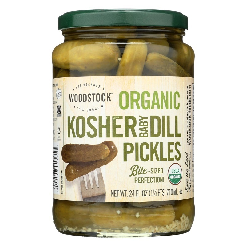 Woodstock Organic Pickles - Kosher Dill - Baby - Case Of 6 - 24 Oz.