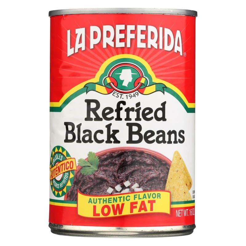 La Preferida Refried Beans - Black - Fat Free - Case Of 12 - 16 Oz