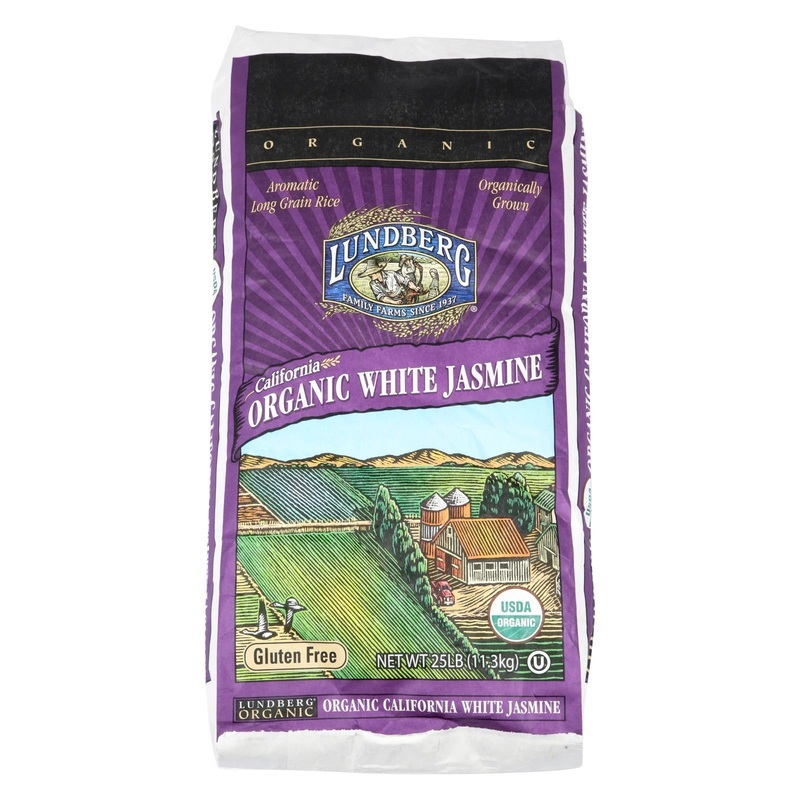 Lundberg Family Farms Organic Jasmine White Rice - Case Of 25 Lbs