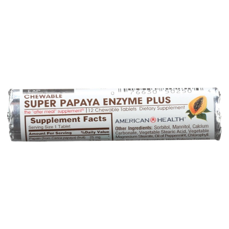 American Health Super Papaya Enzyme Roll - Case Of 16 - 12 Tab