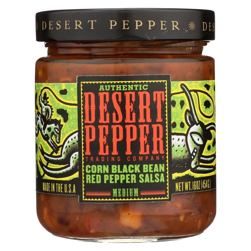 Desert Pepper Trading Medium Corn Black Bean Red Pepper Salsa - Case Of 6 - 16 Oz.