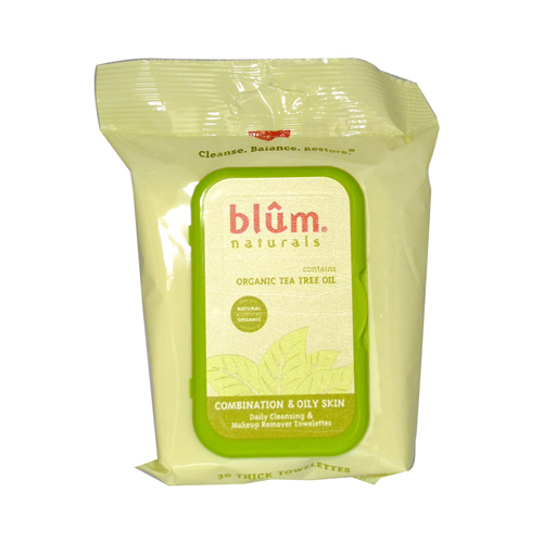 Blum Naturals Organic Tea Tree Oil Towelettes - 30 Towelettes - Case of 3